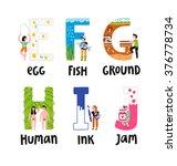 alphabet letters e to j  vector ... | Shutterstock .eps vector #376778734