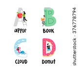 alphabet letters a to d  vector ... | Shutterstock .eps vector #376778794