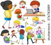 people doing different... | Shutterstock .eps vector #376782889
