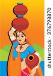 indian village woman carrying... | Shutterstock .eps vector #376798870