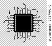 cpu microprocesso. flat style...