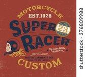 skull racer vintage tee print... | Shutterstock .eps vector #376809988