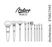 makeup brushes kit  isolated on ...   Shutterstock .eps vector #376817443
