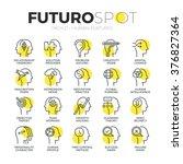 stroke line icons set of... | Shutterstock .eps vector #376827364