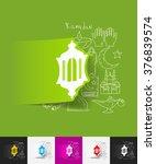 lantern paper sticker with hand ... | Shutterstock .eps vector #376839574