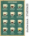 coffee menu icon set. beverages ... | Shutterstock .eps vector #376850620