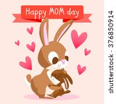 happy mother's day with rabbits.... | Shutterstock .eps vector #376850914