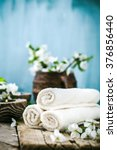 spa and wellness setting with... | Shutterstock . vector #376856440