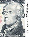 Small photo of Alexander Hamilton, portrait on US ten dollars