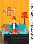 woman playing video game. | Shutterstock .eps vector #376860730