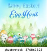 easter eggs background with... | Shutterstock .eps vector #376863928