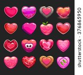 cartoon vector heart icons set  ...