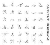 hand drawing line cartoon yoga... | Shutterstock .eps vector #376872790