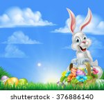 white easter bunny with a... | Shutterstock .eps vector #376886140