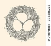 straw nest with three eggs  | Shutterstock .eps vector #376886218