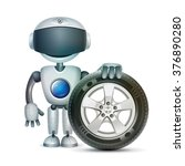 the robot with a car wheel | Shutterstock . vector #376890280
