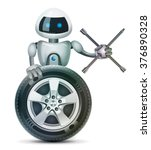 the robot with a wheel and a... | Shutterstock . vector #376890328