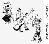 jazz band doodles | Shutterstock .eps vector #376901848