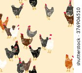 Seamless Pattern With Hens.