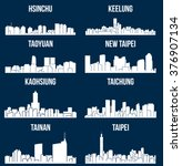 set of 8 city silhouette in... | Shutterstock .eps vector #376907134