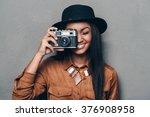 say cheese  beautiful cheerful... | Shutterstock . vector #376908958