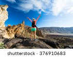 woman hiker with arms... | Shutterstock . vector #376910683