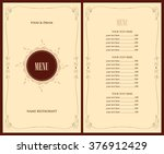 menu for the restaurant with... | Shutterstock .eps vector #376912429