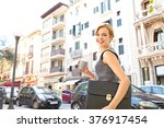 beautiful young business woman...   Shutterstock . vector #376917454