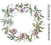 Passiflora. Wreath. Watercolor...