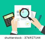 paper sheet  hands  magnifier ... | Shutterstock . vector #376927144