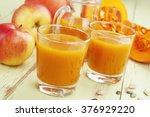 pumpkin and apple juice in the... | Shutterstock . vector #376929220
