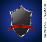 metallic black shield with red... | Shutterstock .eps vector #376935523