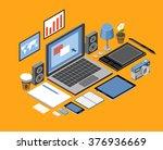 flat isometric vector workspace.... | Shutterstock .eps vector #376936669