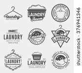 Stock vector vector set of laundry logos emblems and design elements logotype templates and badges 376941346