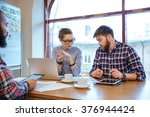 multiethnic group of young... | Shutterstock . vector #376944424