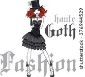 Vector Beautiful Goth Girl With ...
