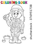 coloring book female soldier... | Shutterstock .eps vector #376951738