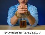 drunk man drinking alcohol at... | Shutterstock . vector #376952170