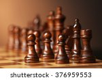 chess pieces and game board on... | Shutterstock . vector #376959553