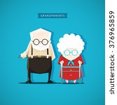 grandfather and grandmother are ... | Shutterstock .eps vector #376965859