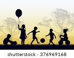 silhouettes of children playing ... | Shutterstock . vector #376969168