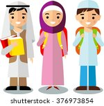 arabic pupil and teacher in... | Shutterstock .eps vector #376973854