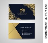 Business Card   Gold Floral...