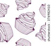 Pattern Cupcake Purple Contours