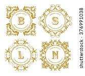 vector set of elegant decor... | Shutterstock .eps vector #376991038