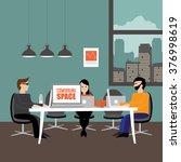entrepreneurial workspace in... | Shutterstock . vector #376998619