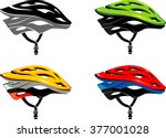 cyclist helmet side view set | Shutterstock .eps vector #377001028