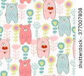 seamless pattern with cartoon... | Shutterstock .eps vector #377007808