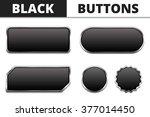 five black buttons with metal...