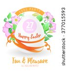 happy easter flyer or poster... | Shutterstock .eps vector #377015593